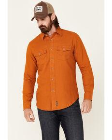 Wrangler Retro Premium Men's Solid Amber Long Sleeve Button-Down Western Shirt , Orange, hi-res