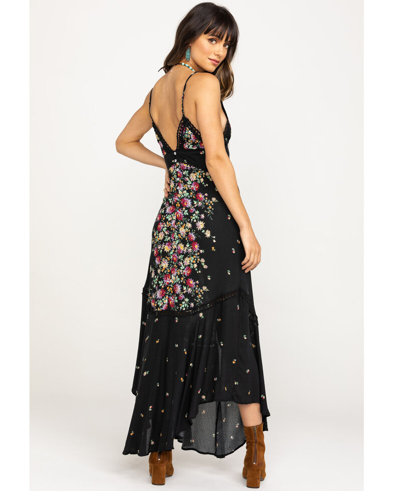Free People Women's Red Paradise White Floral Maxi Dress, Black, hi-res