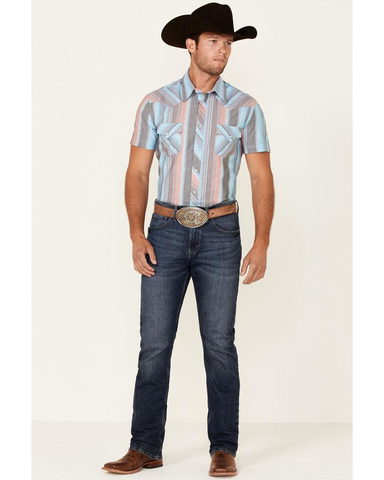 Rock & Roll Denim Men's Turquoise Stripe Short Sleeve Snap Western Shirt, Turquoise, hi-res