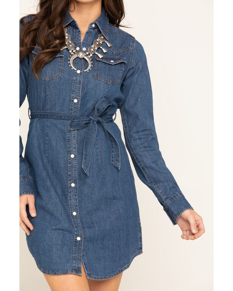 Wrangler Women's Denim Aztec Embroidered Snap Long Sleeve Dress, Blue, hi-res