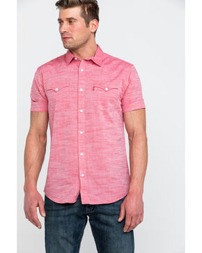Levis Men's Bucci Solid Short Sleeve Western Shirt , Red, hi-res