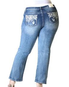 Grace in LA Women's Floral Pocket Straight Jeans - Plus , Blue, hi-res