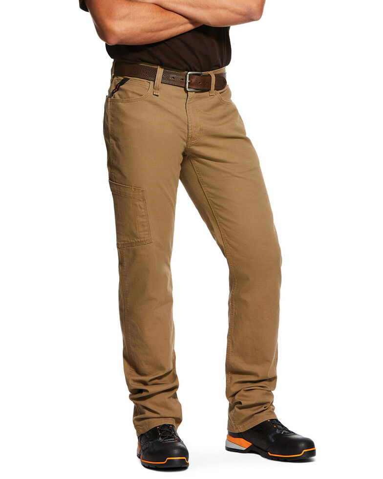 Ariat Men's Khaki Rebar M4 Made Tough Durastretch Straight Leg Work Pants - Big , Beige/khaki, hi-res