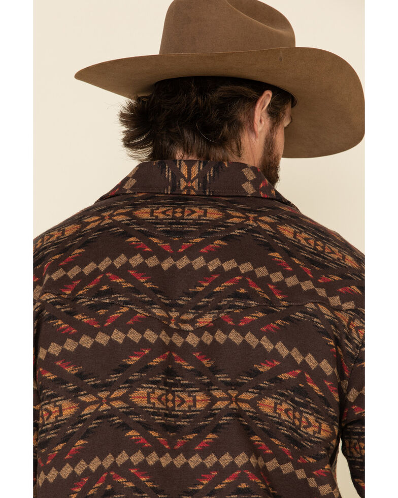 Outback Trading Co. Men's Brown Aztec Outland Shirt Jacket , Brown, hi-res
