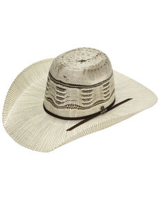 M & F Western Men's Bangora Natural Western Straw Hat , Natural, hi-res