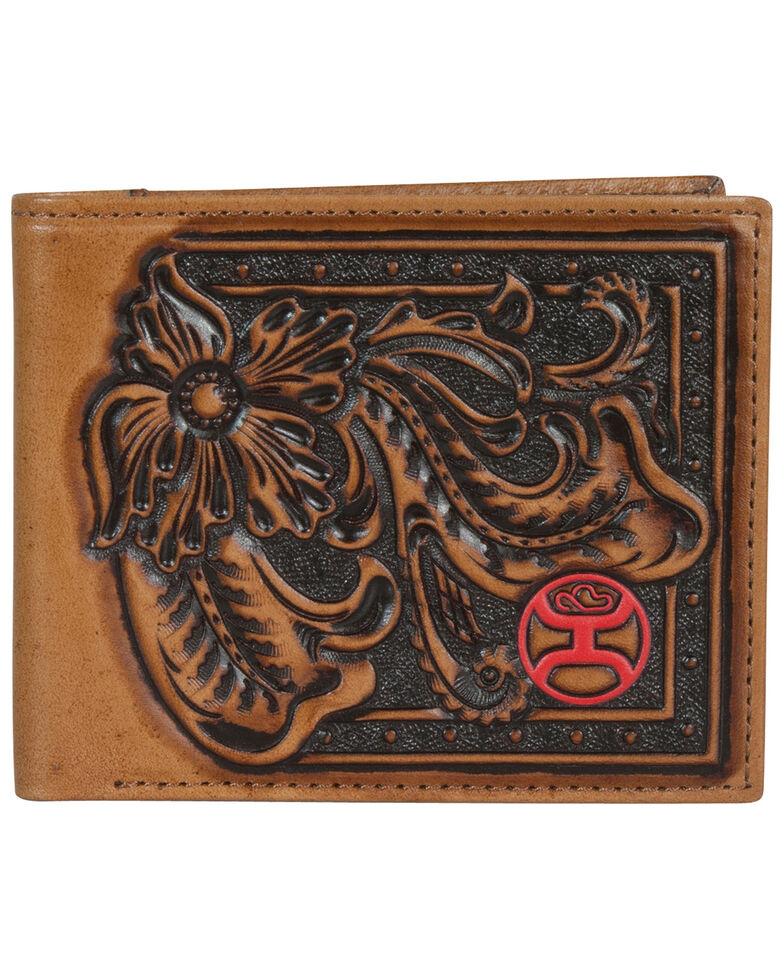 HOOey Men's Brown With Tooling Bi-Fold Wallet, Brown, hi-res