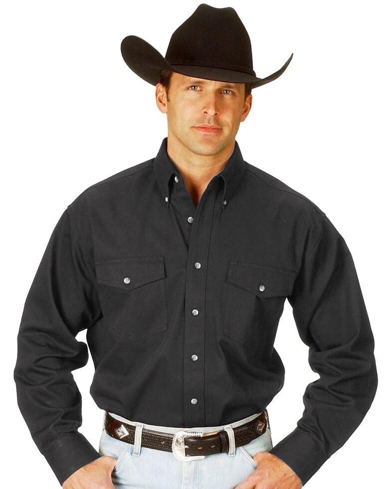 Wrangler Men's Painted Desert Solid Twill Long Sleeve Western Shirt, Black, hi-res