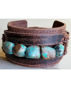 Jewelry Junkie Women's African Turquoise Chunk Leather Cuff , Brown, hi-res