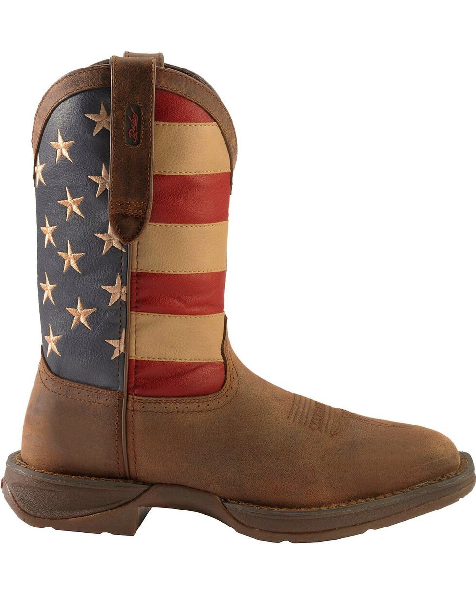 Durango Rebel Men's American Flag Cowboy Boots - Steel Toe, Brown, hi-res