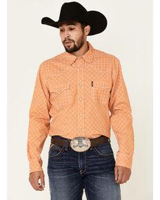 Cinch Men's Modern Fit Orange Diamond Geo Print Long Sleeve Western Shirt , Orange, hi-res