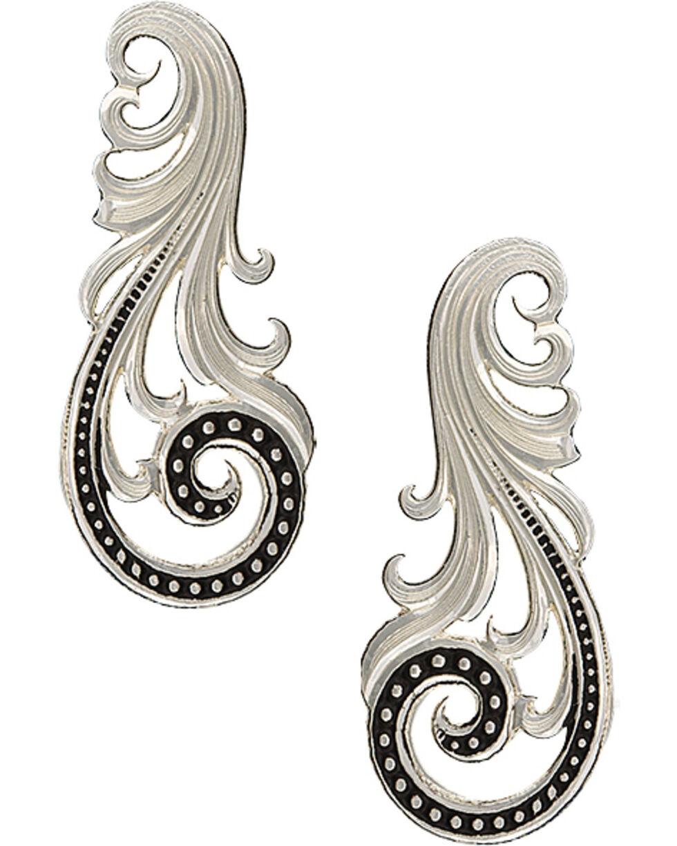 Montana Silversmiths Women's Western Lace Whisper Earrings , Silver, hi-res