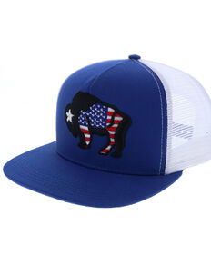 HOOey Men's Bison Terminal Flag Patch Cap , Blue, hi-res