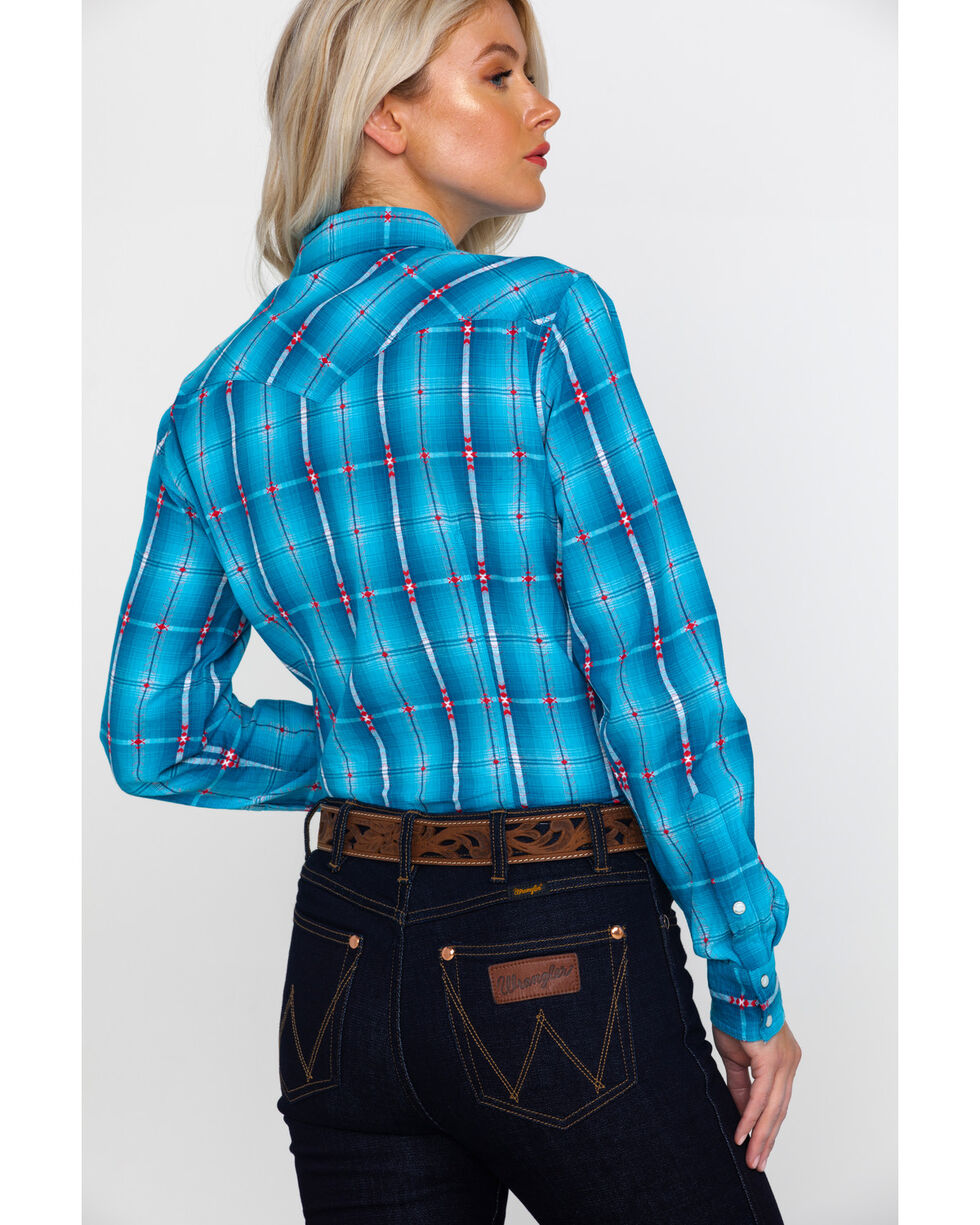 White Label by Panhandle Women's Plaid Long Sleeve Western Shirt , Blue, hi-res