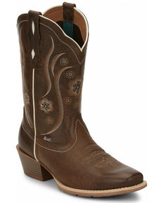 Justin Women's Jesse Brown Western Boots - Square Toe, Brown, hi-res