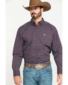 Ariat Men's Largo Small Geo Print Long Sleeve Western Shirt , Brown, hi-res