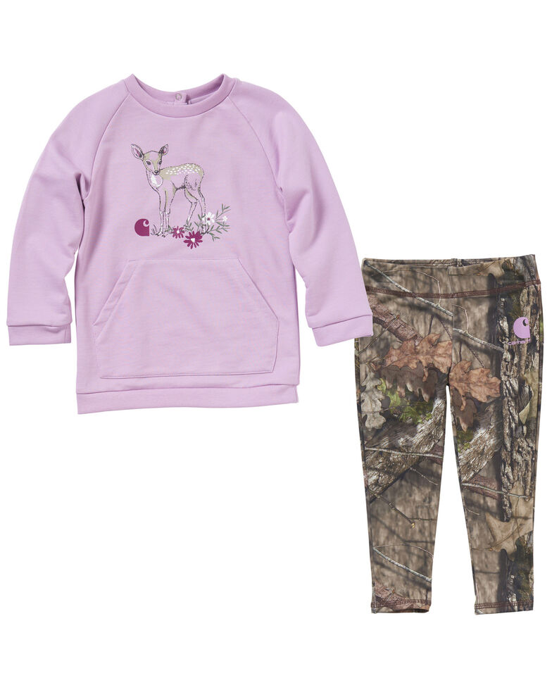 Carhartt Infant Girls' Two-Piece Camo Legging & Sweatshirt Set , Camouflage, hi-res