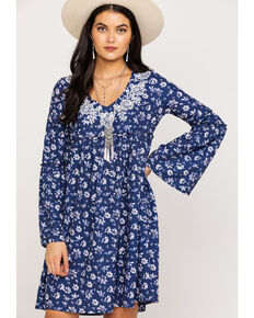 Roper Women's Navy Floral Print Dress, Blue, hi-res
