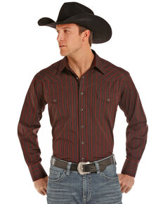 Panhandle Men's Satin Dobby Stripe Long Sleeve Western Shirt, Burgundy, hi-res