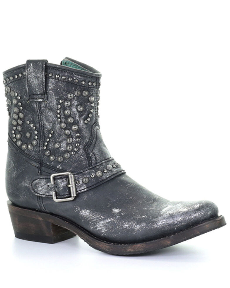 Corral Women's Harness & Studs Fashion Booties - Round Toe, Black, hi-res