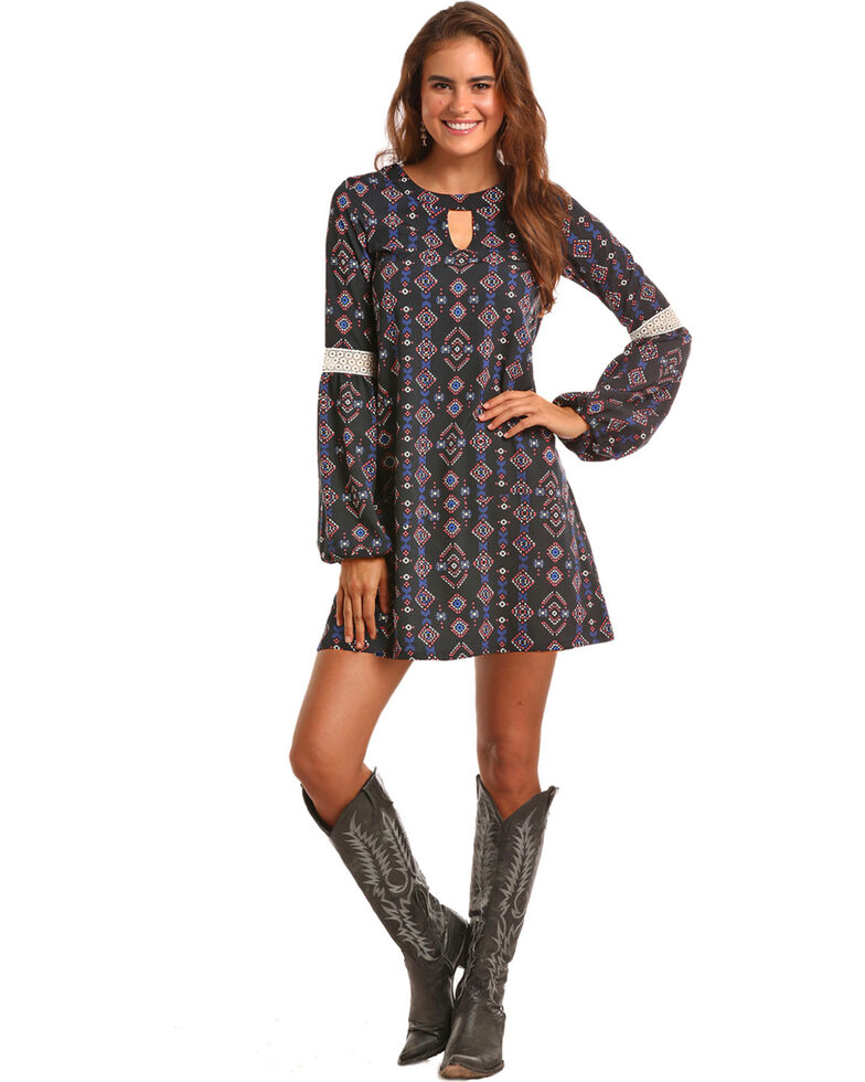 Rock & Roll Cowgirl Women's Navy Lace Inset Geo Print Dress , Navy, hi-res