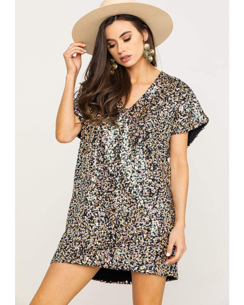 By Together Women's Gold & Silver Sequin Short Sleeve Mini Dress, Gold, hi-res