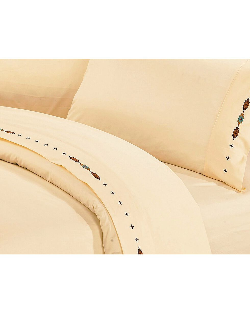HiEnd Accents Navajo Embroidered Cream Sheet Set - Queen, Cream, hi-res
