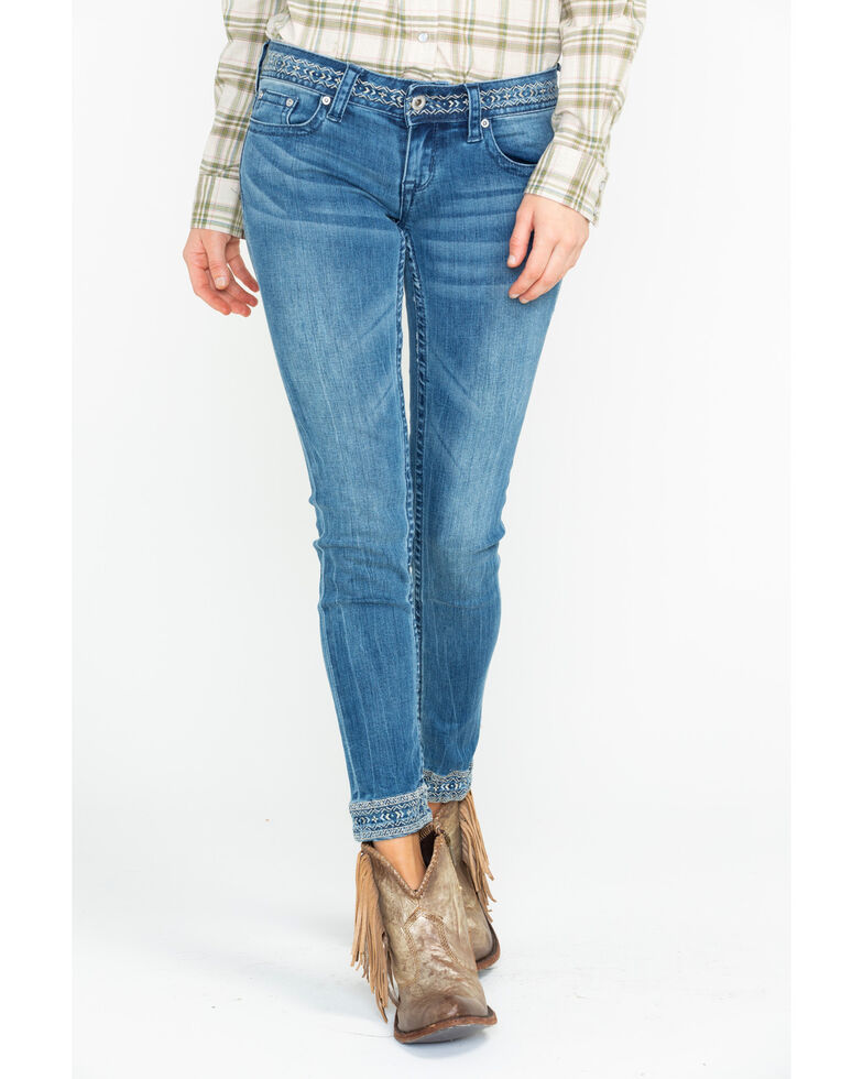 Grace In LA Women's Embroidered Hem Skinny Jeans, Indigo, hi-res