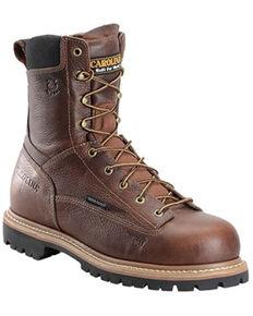 """Carolina Men's Brown 8"""" Waterproof Lace to Toe Comp Work Boot, Medium Brown, hi-res"""