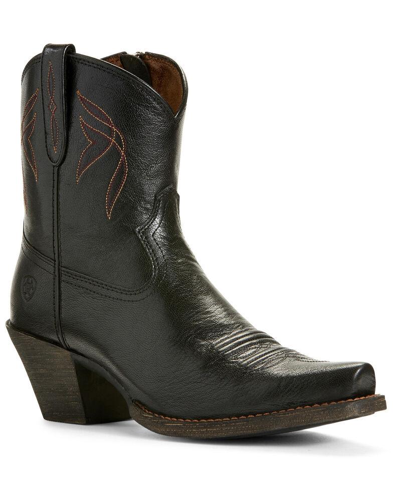 Ariat Women's Lovely Jackal Western Booties - Snip Toe, Black, hi-res