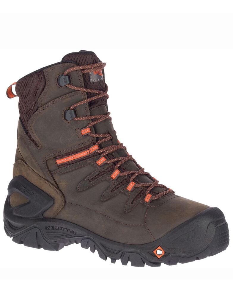 Merrell Men's Strongfield Waterproof Work Boots - Soft Toe, Dark Brown, hi-res