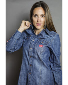 Kimes Ranch Women's Zorro Denim Shirt, Indigo, hi-res