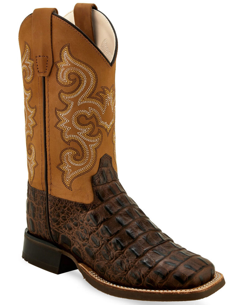 Old West Boys' Faux Gator Western Boots - Wide Square Toe, Brown, hi-res