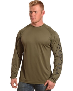 Filson Men's Olive Green Barrier Long Sleeve T-Shirt, Olive, hi-res
