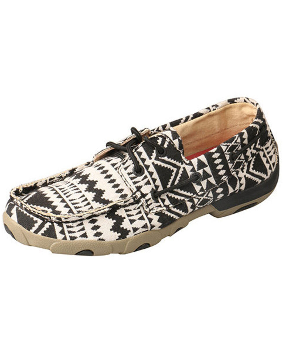 Twisted X Women's Black & White Aztec Boat Shoes - Moc Toe, Black, hi-res