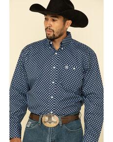 George Strait by Wrangler Purple Geo Print Button Long Sleeve Western Shirt , Purple, hi-res