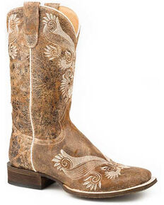 Roper Women's Distressed Brown Western Boots - Square Toe, Brown, hi-res