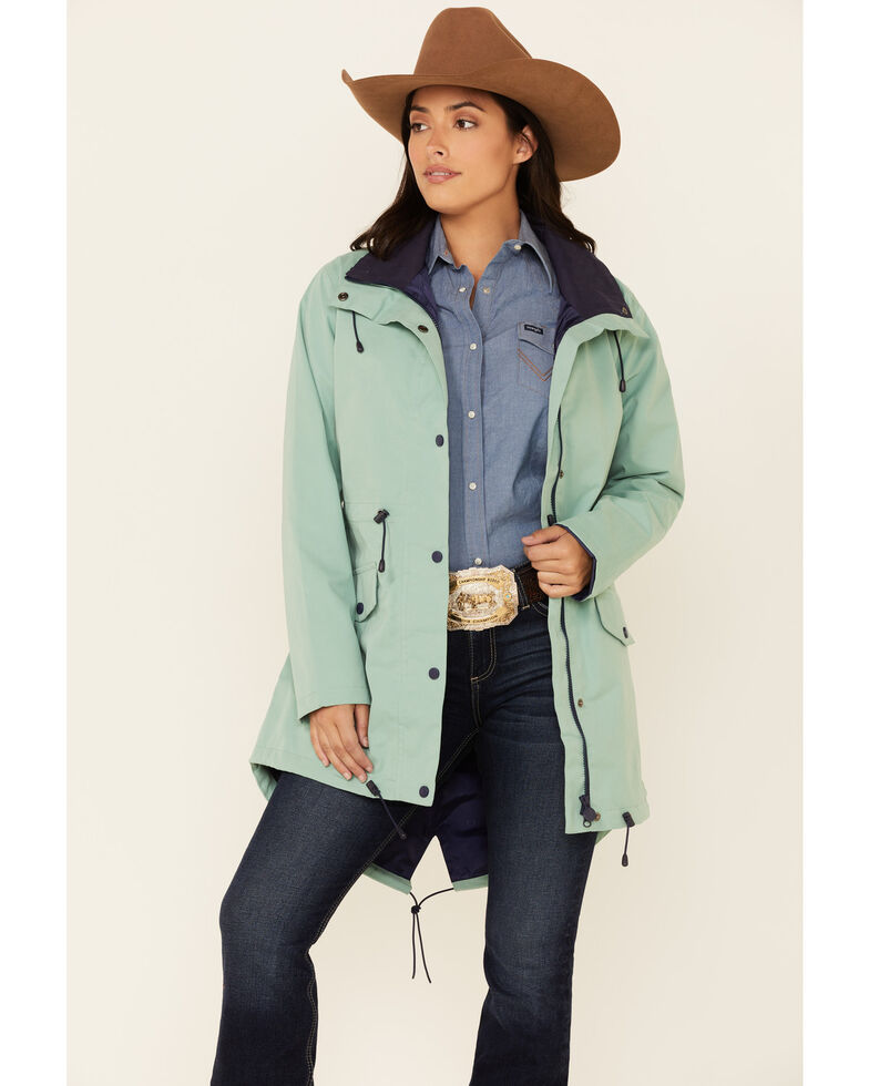 Outback Trading Co. Women's Solid Mint Fauna Storm Flap Rain Jacket , Light Green, hi-res