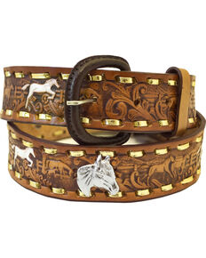 Western Express Men's Brown Leather Running Horses Belt - Big, Brown, hi-res