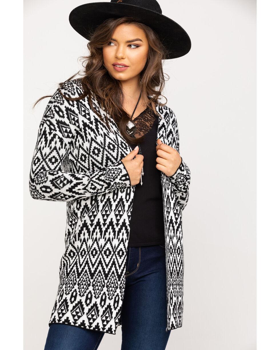 Stetson Women's Aztec Knit Cardigan, Black, hi-res