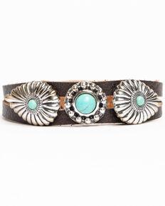 Shyanne Women's Mini Concho Leather Bracelet, Dark Brown, hi-res