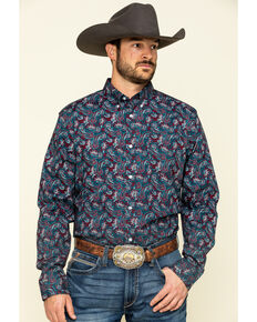 Cody James Core Men's Good Ol' Boy Paisley Print Long Sleeve Western Shirt , Blue, hi-res