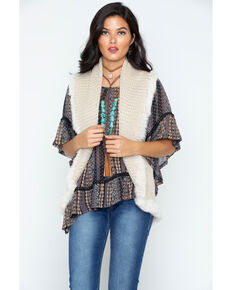 Cripple Creek Women's Crochet Knit Fur Trim Vest, Sand, hi-res
