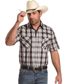 Jack Daniel's Men's Black Embroidered Logo Plaid Short Sleeve Western Shirt , Black, hi-res