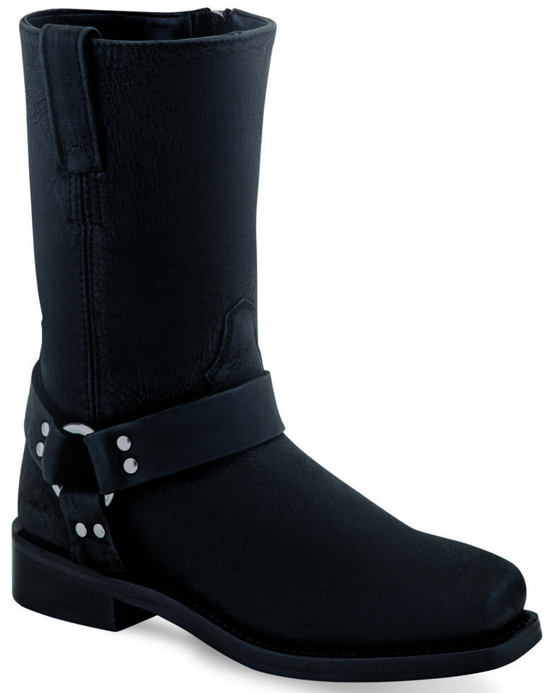 Old West Girls' Black Harness Western Boots - Narrow Square Toe, Black, hi-res