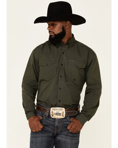 Roper Men's Solid Olive Long Sleeve Button-Down Western Shirt , Green, hi-res
