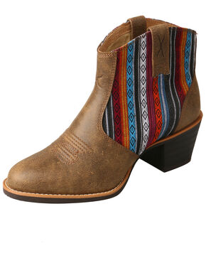 Twisted X Women's Serape Western Fashion Booties - Round Toe, Brown, hi-res