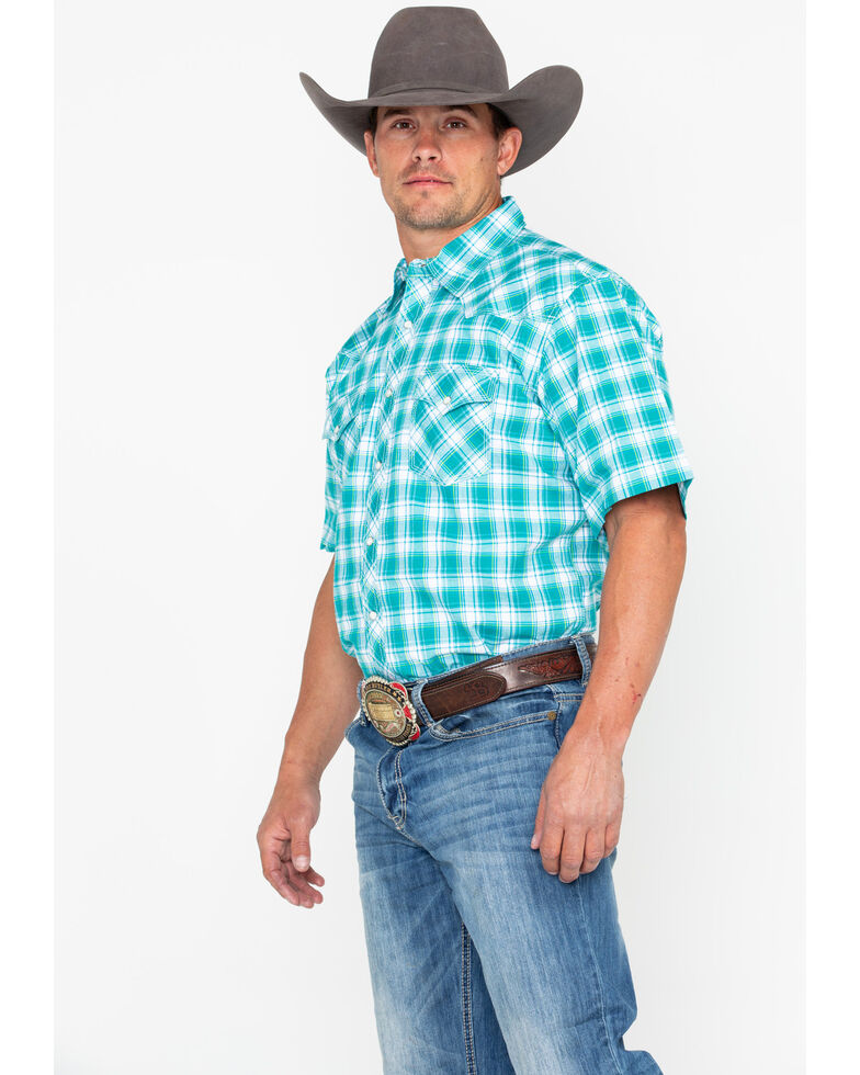 Wrangler 20x Men's Green Plaid Advanced Comfort Short Sleeve Western Shirt , Green, hi-res