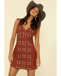 Shyanne Women's Embroidered Spaghetti Strap Dress , Rust Copper, hi-res