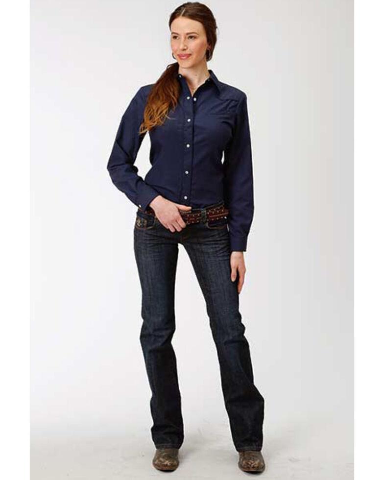 Karman Women's Blue Embroidered Long Sleeve Western Shirt, Blue, hi-res
