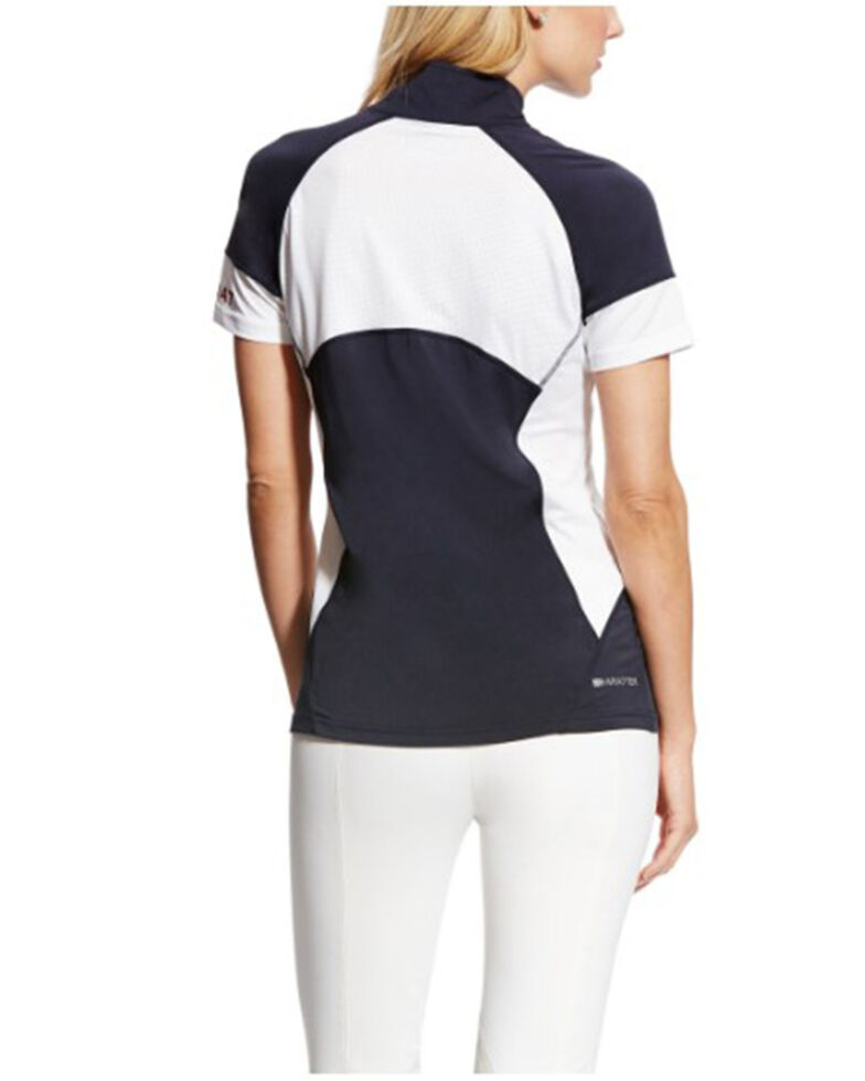 Ariat Women's Cambria Team Jersey 1/4 Zip Short Sleeve Baselayer Pullover, Multi, hi-res